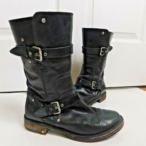 UGG Black Leather Gillespie Leather Boots